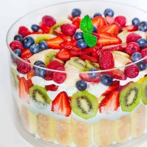 Mixed Fruit Trifle No-Bake Dessert with Video Tutorial