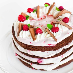 Chocolate Raspberry Cake with Cream Cheese Frosting