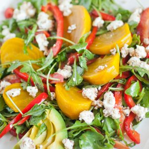 yellow beet salad with arugula