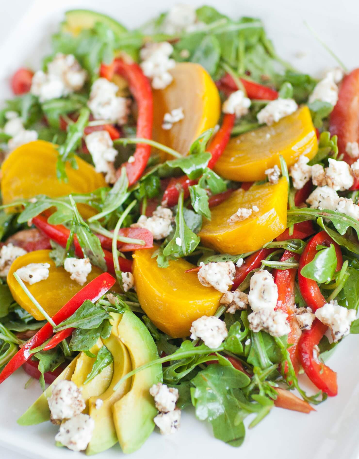 yellow beet salad with arugula