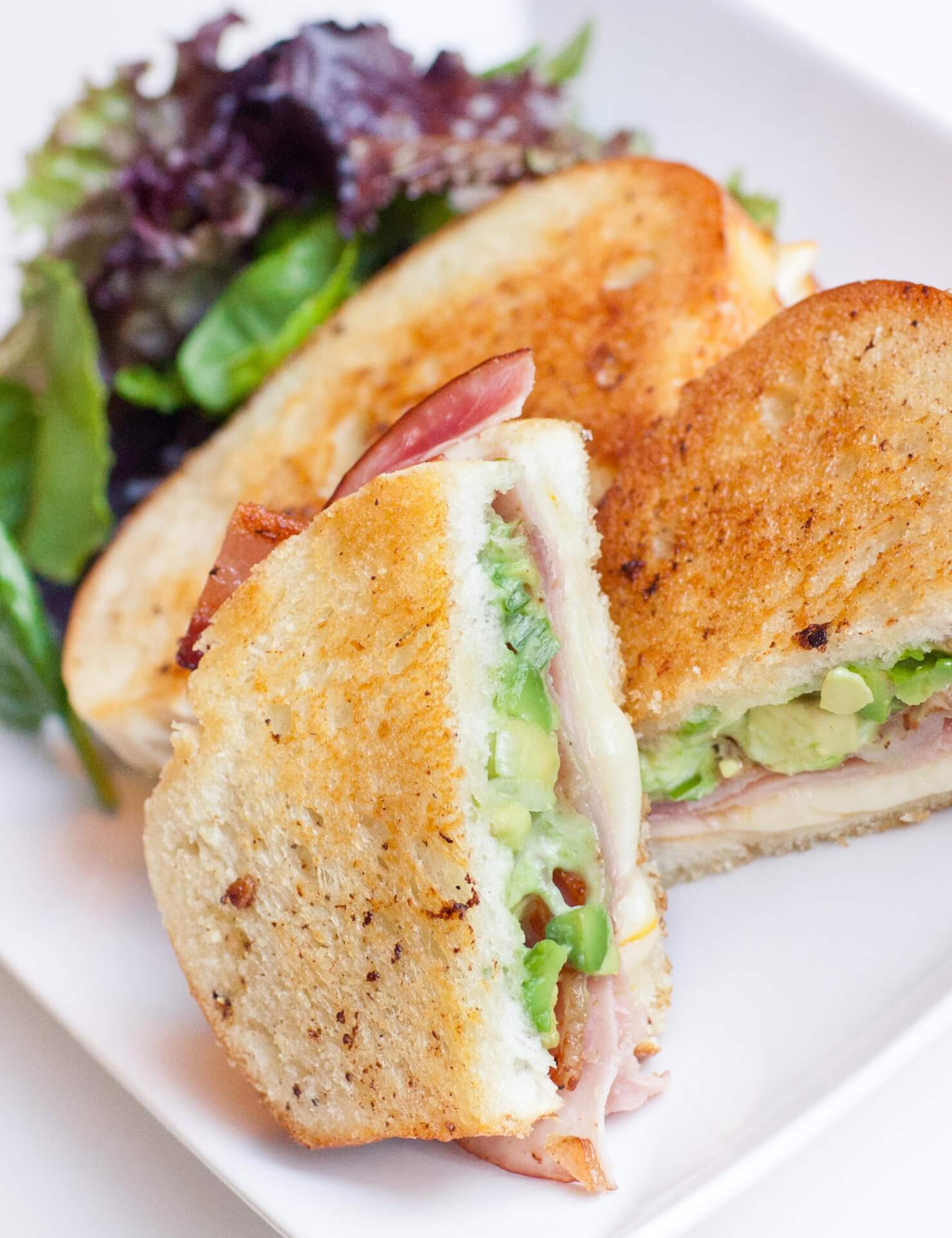 ham and avocado grilled cheese sandwich
