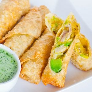 chicken egg rolls with avocado