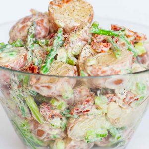 baby potato salad with sun dried tomatoes
