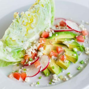 wedge salad with avocado and radish