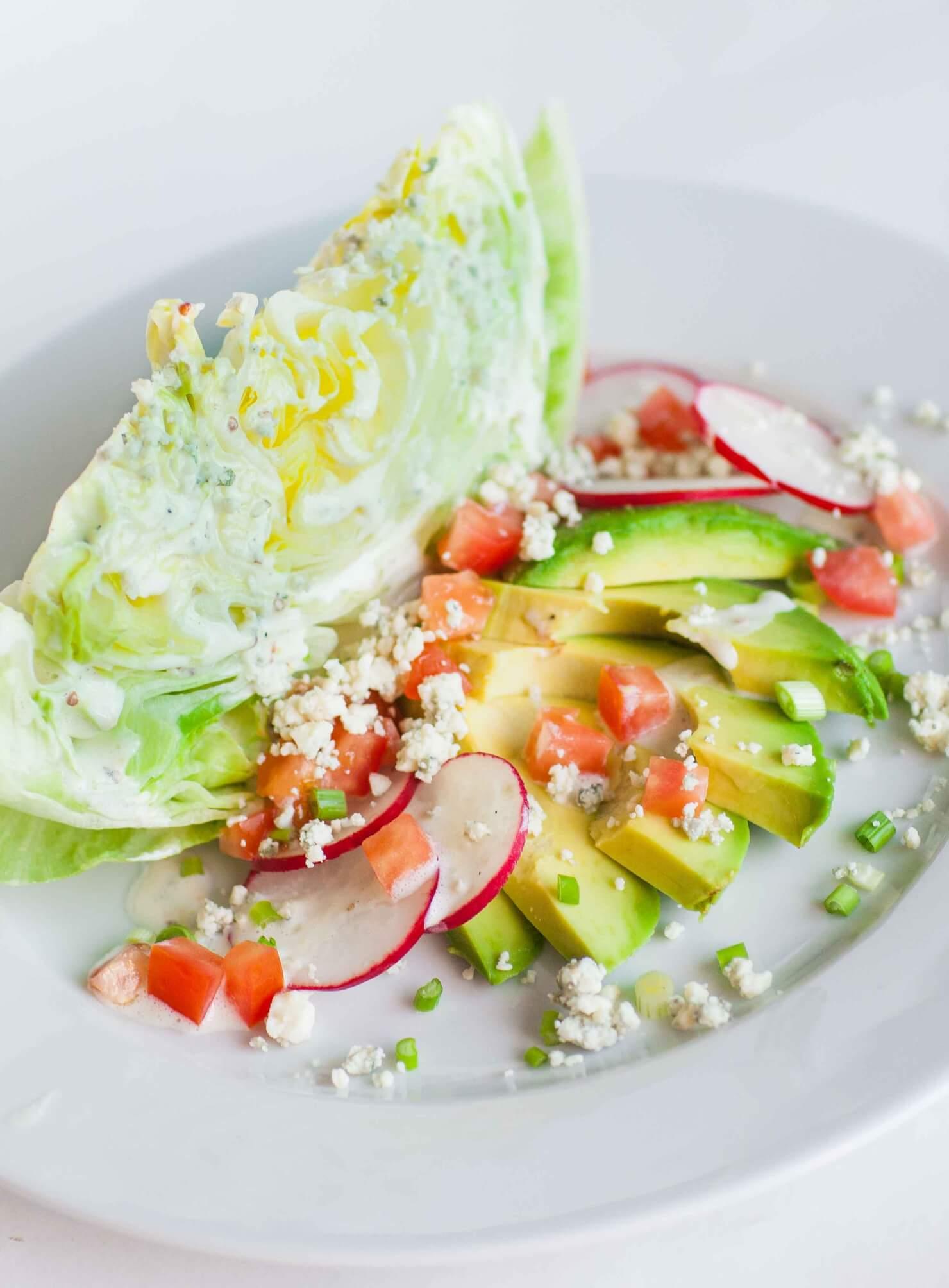 wedge salad with avocado and radish