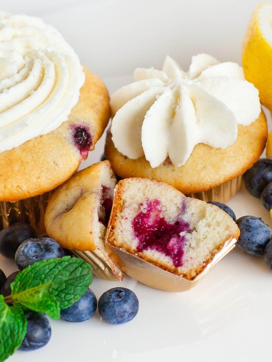 blueberry lemon cupcakes with cream cheese frosting and lemon zest