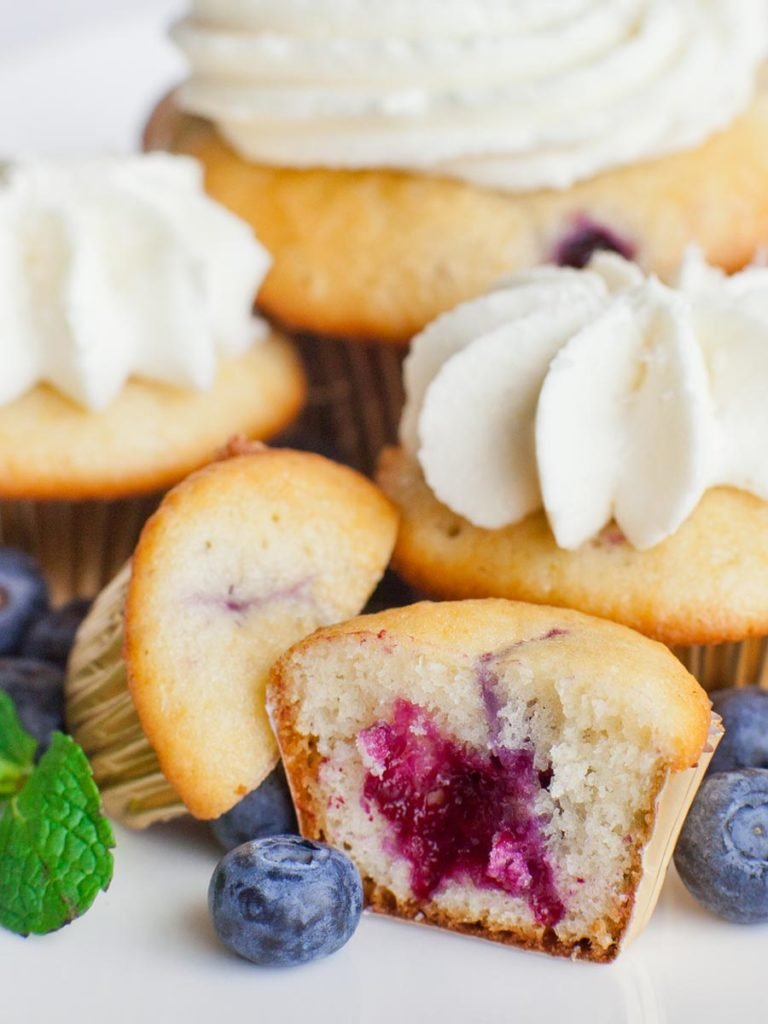 blueberry lemon cupcakes with cream cheese frosting