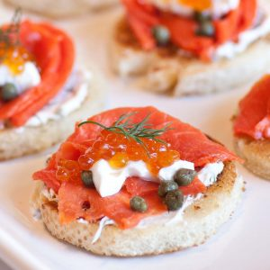 smoked salmon and caviar on toast