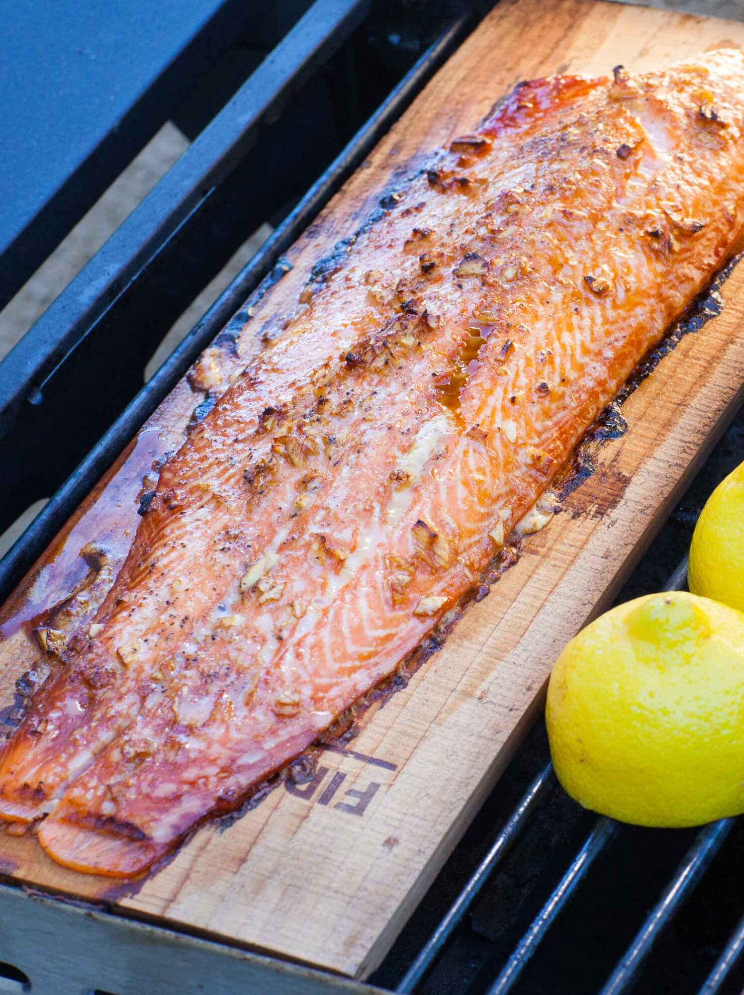 cedar plank salmon with lemons