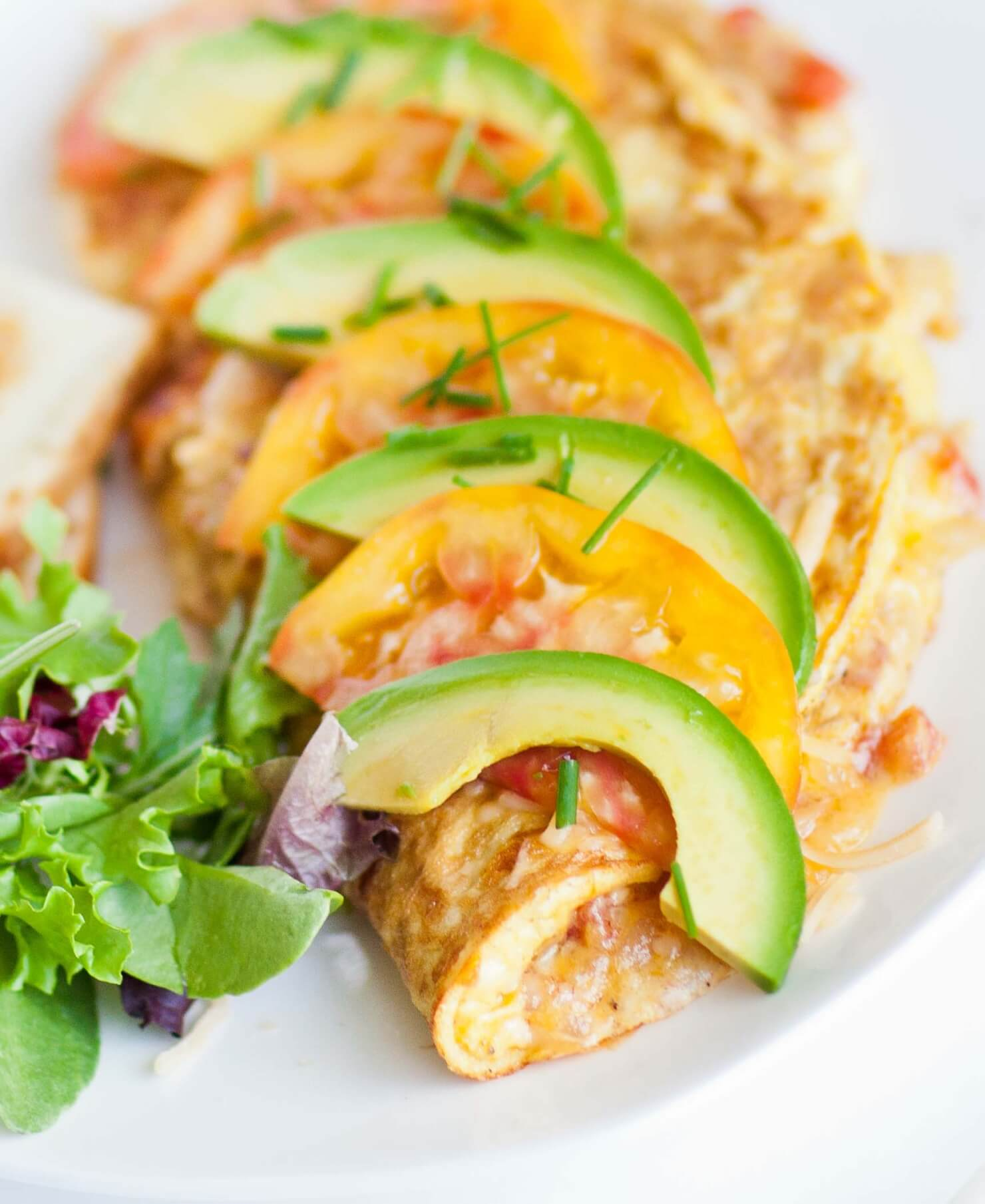 cheese omelette with avocado