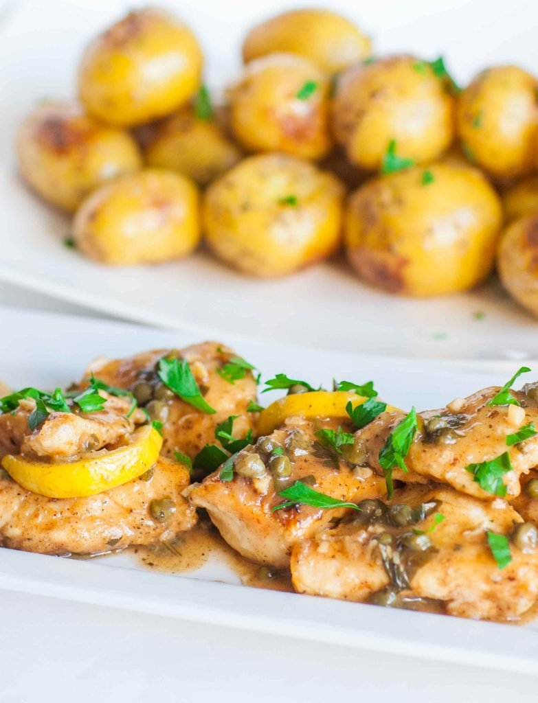 Chicken piccata with pan seared baby potatoes tatyanas everyday food the flavors are refreshing and light youll love the white wine and lemon sauce on top of baby potatoes or over pasta chicken piccata never disappoints forumfinder Choice Image