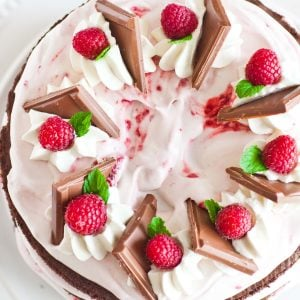 chocolate raspberry cake with raspberries