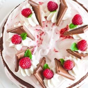 chocolate raspberry cake with raspberries
