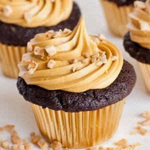 chocolate cupcake with caramel buttercream and toffee