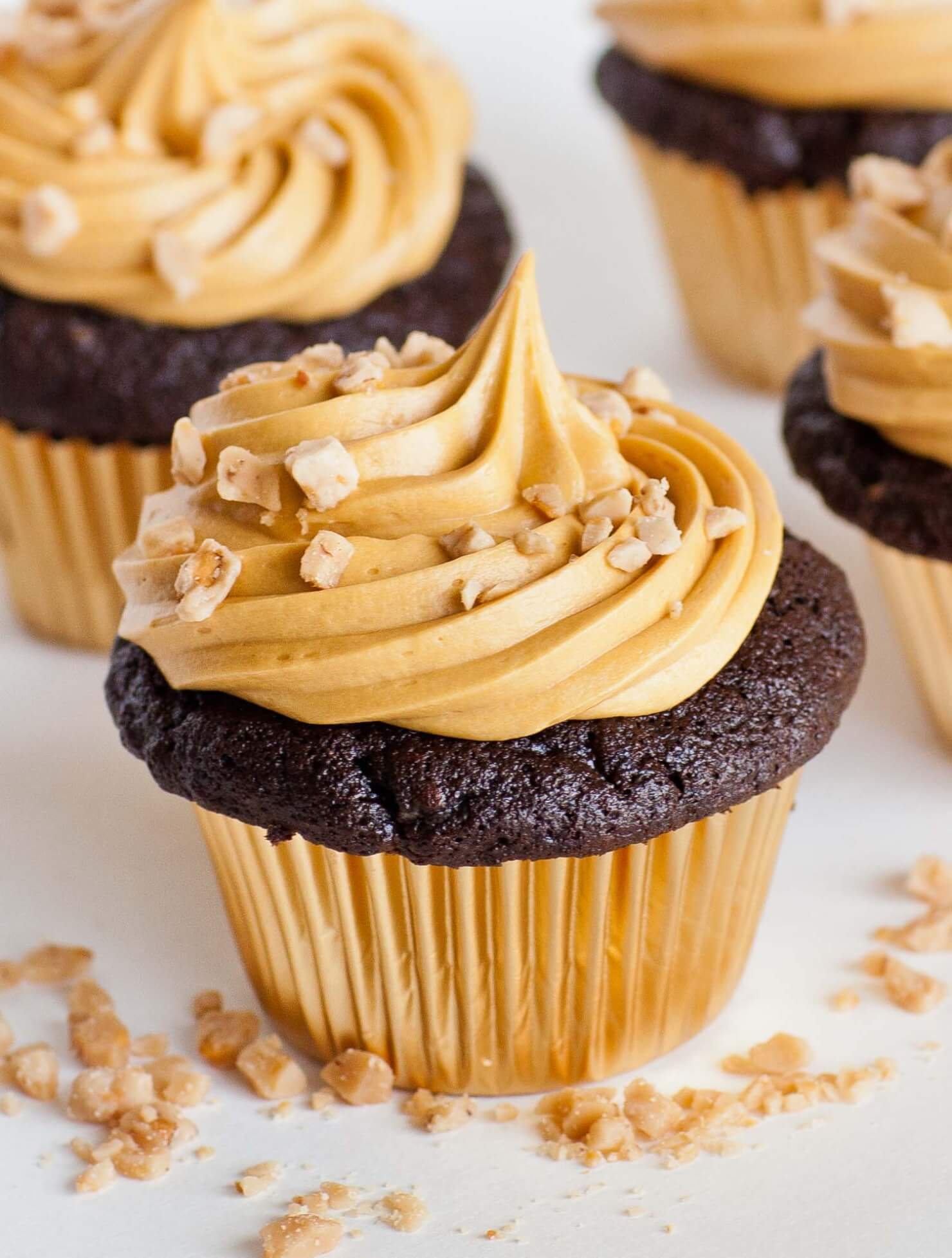 Chocolate Toffee Cupcakes with Caramel Frosting