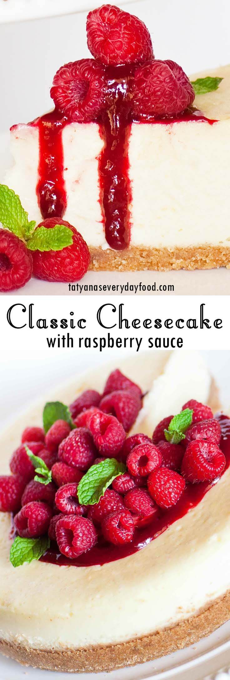 Classic Cheesecake with raspberry sauce video recipe