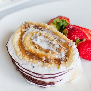 coffee prune cake roll slice