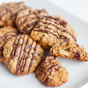 oatmeal cookies with chocolate, pecans and cranberries