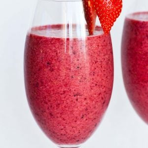 fruit smoothie in wine glass