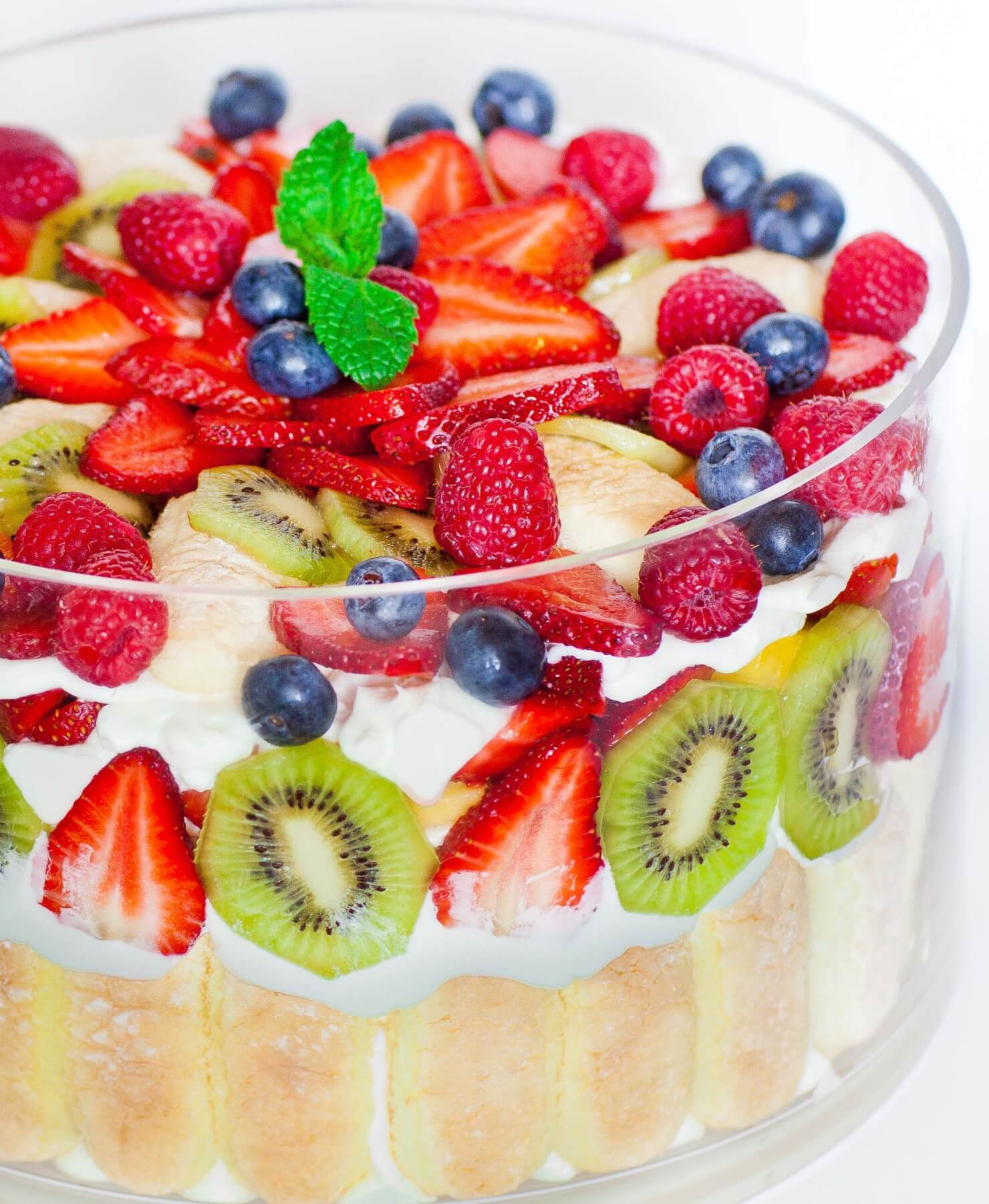 fruit trifle with lady fingers and berries