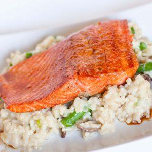 teriyaki glazed salmon with risotto