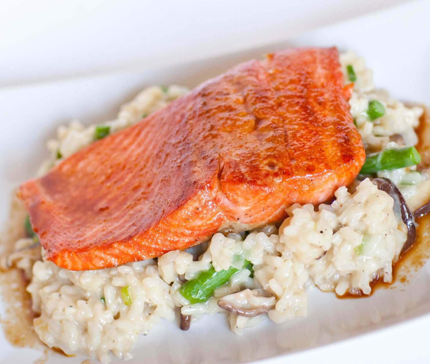 Glazed Salmon with Shitake Risotto