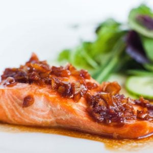 ginger garlic glazed salmon with salad
