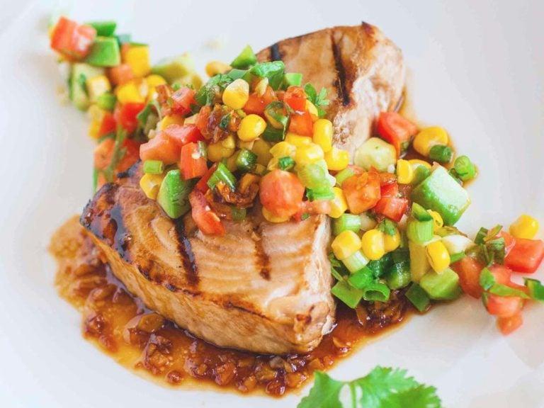 swordfish with ginger garlic sauce and avocado salsa