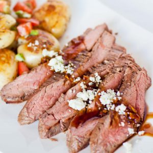 grilled flank steak with potatoes