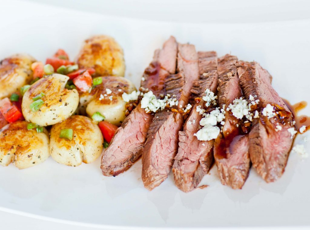 Grilled Flank Steak with Garlic Glaze, Blue Cheese and Pan ...