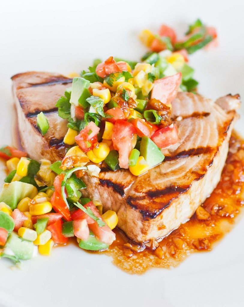 Grilled Garlic Swordfish With Cilantro Mango Dressing Tatyanas Everyday Food
