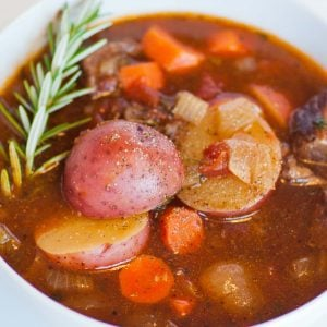 Italian beef stew with herbs and potatoes