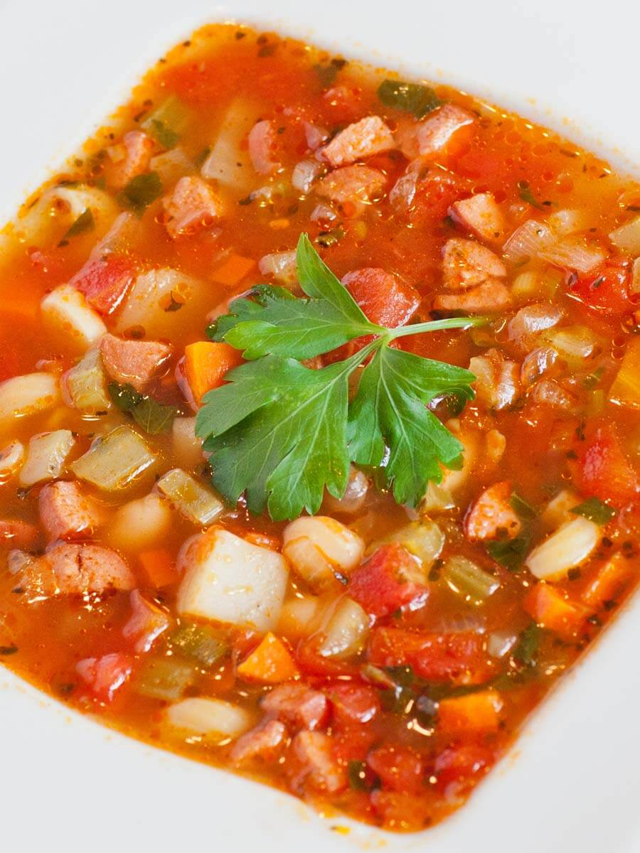 Italian minestrone soup with sausage and beans