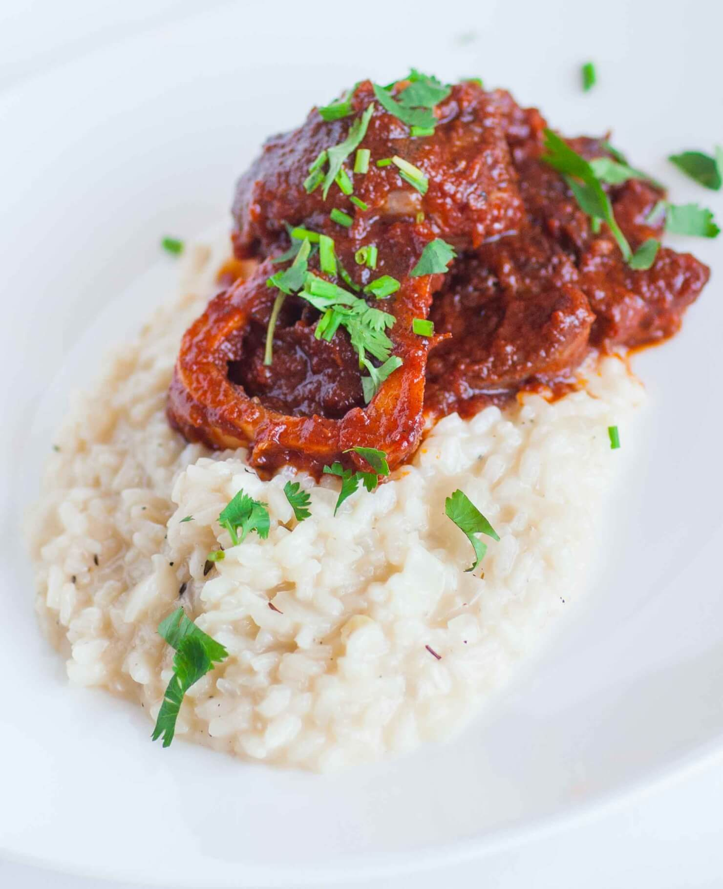ossobuco over risotto