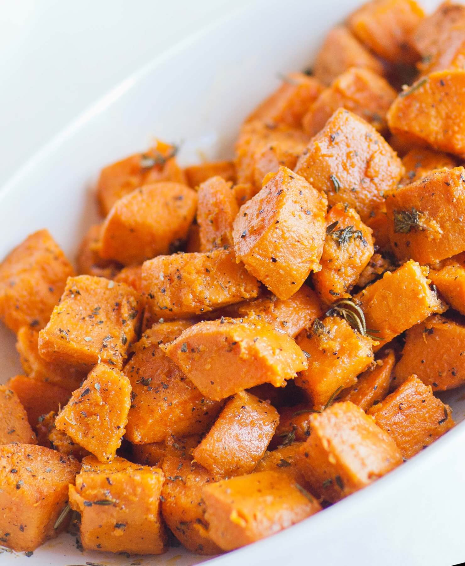 oven roasted sweet potatoes with herbs