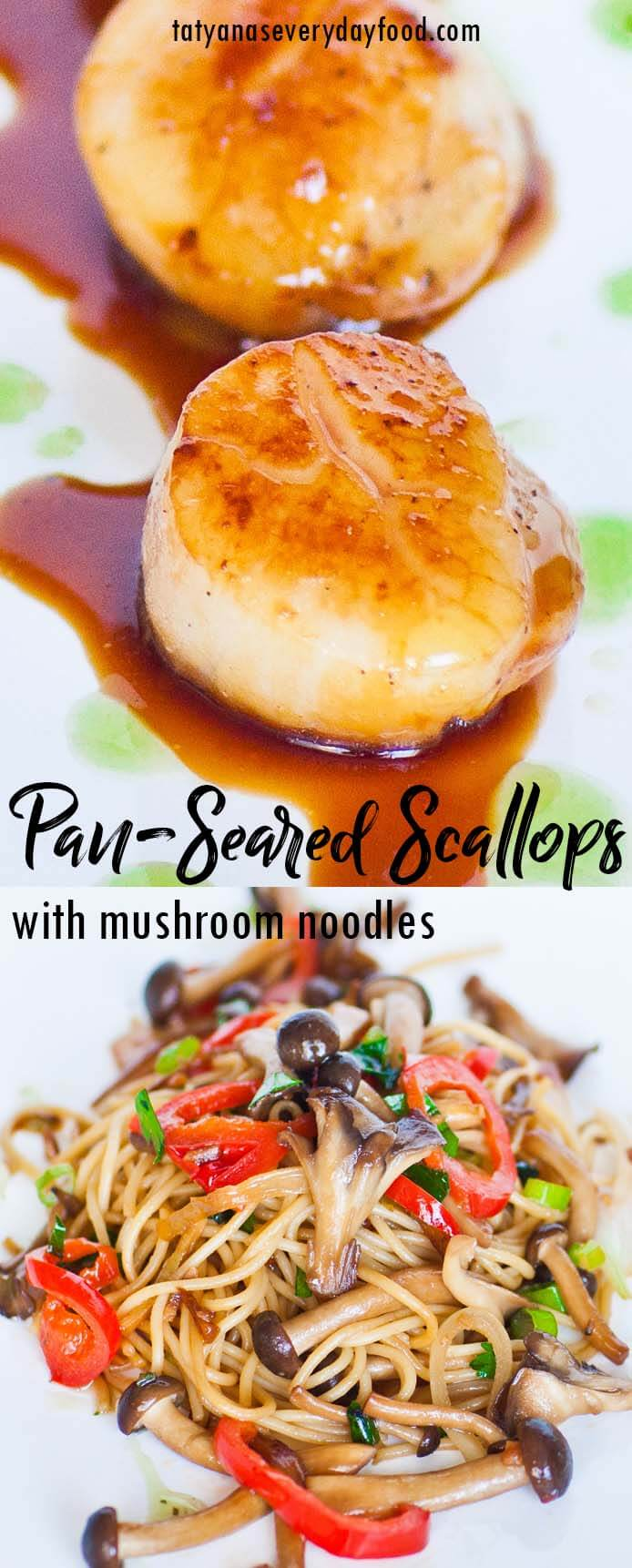 Pan-Seared Scallops with mushroom noodles