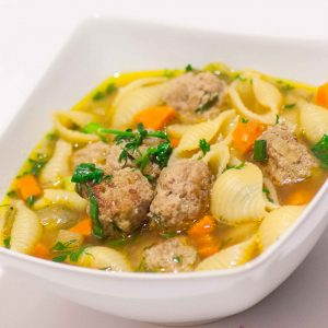 meatball soup with pasta shells