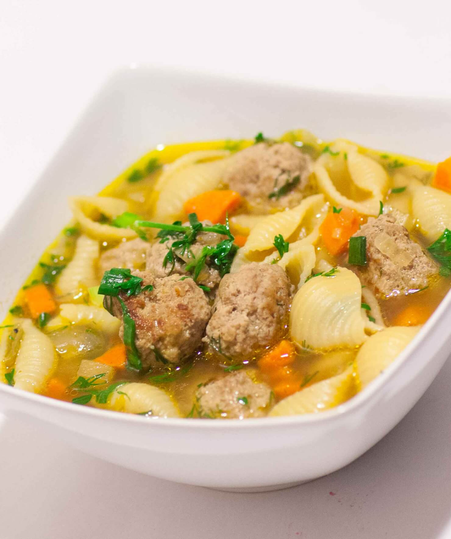 Meatball Soup with Pasta and Hearty Broth