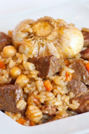 beef rice pilaf with garlic; beef plov