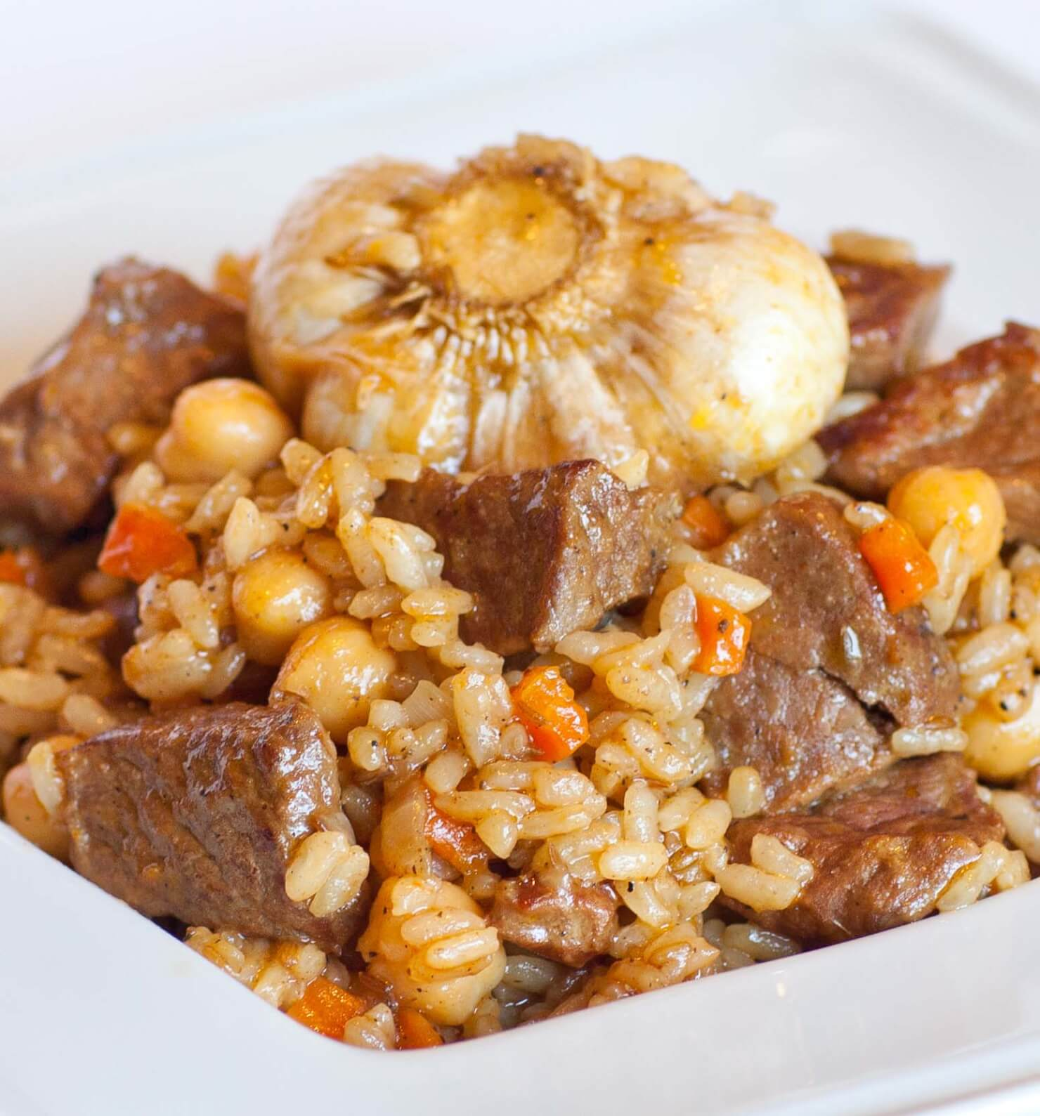 beef rice pilaf with garlic