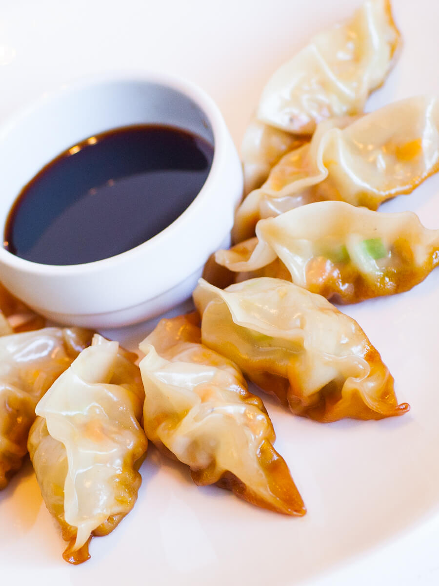 ginger pork potstickers with soy sauce