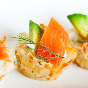 potato canapes with salmon and avocado
