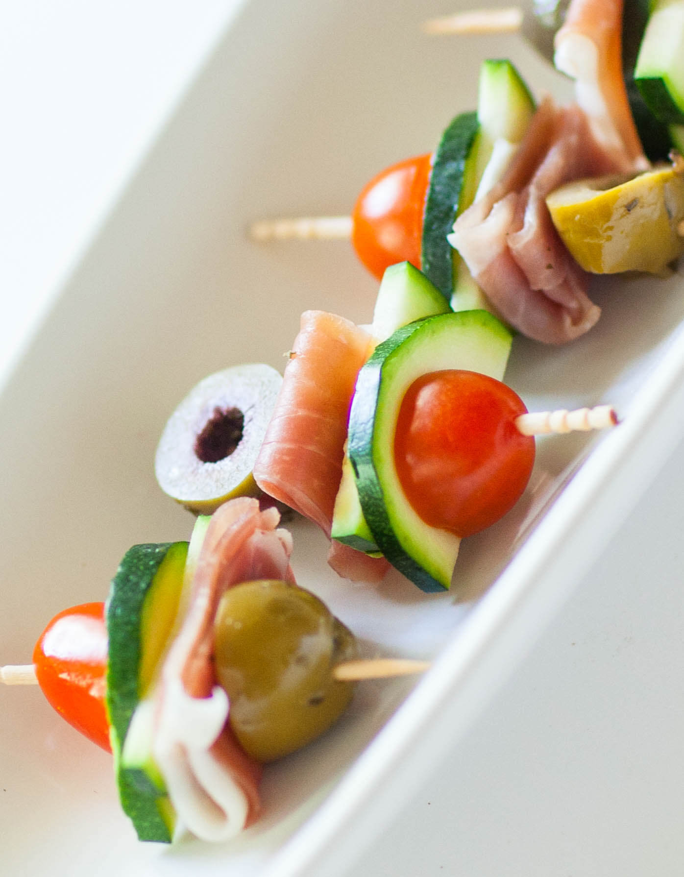 prosciutto and olive skewers