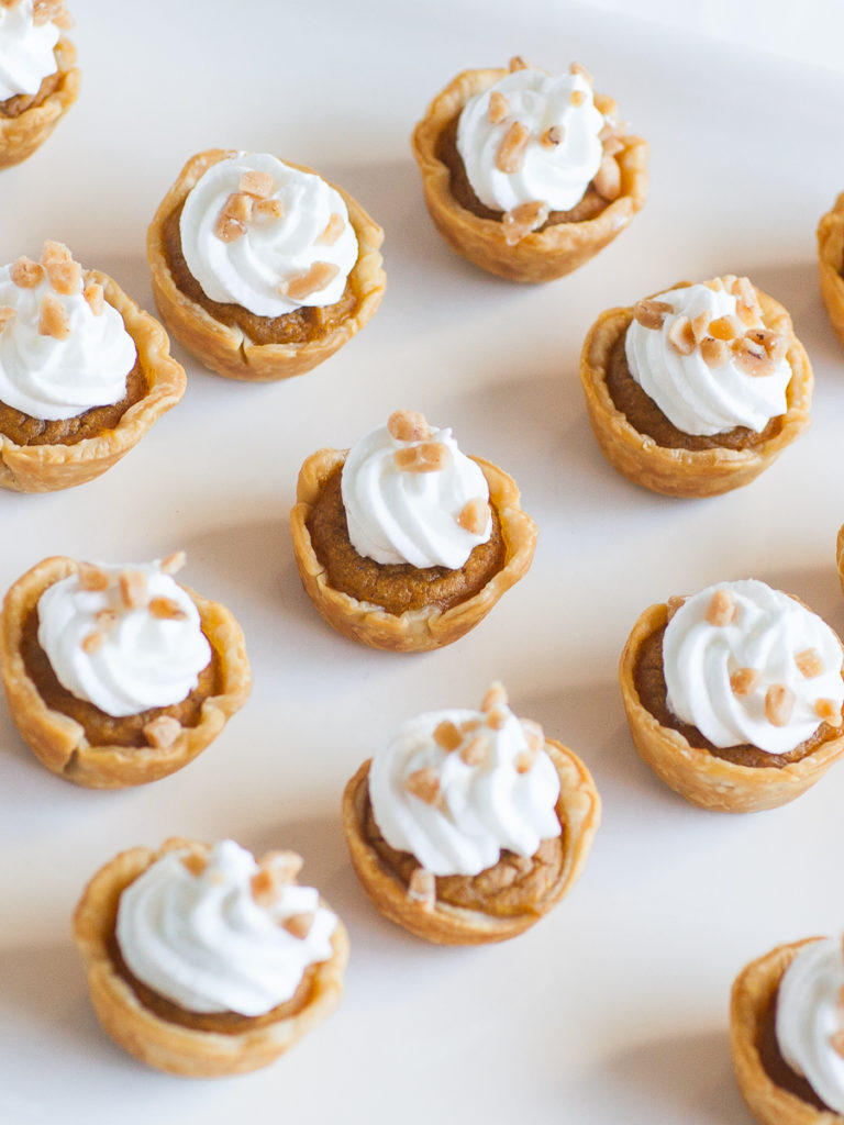 mini pumpkin pie tartlets with meringue topping