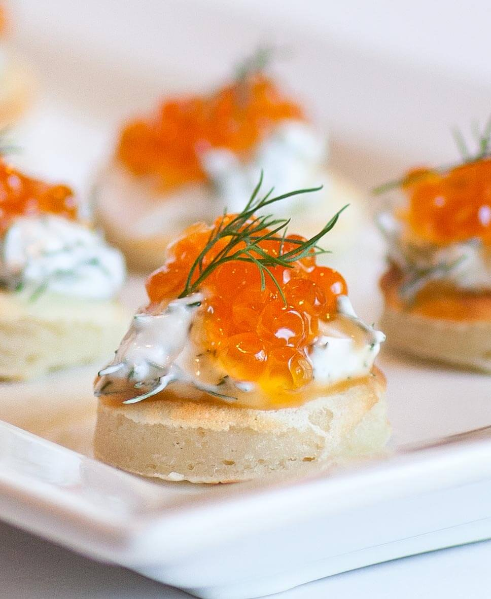 russian blini with caviar and dill