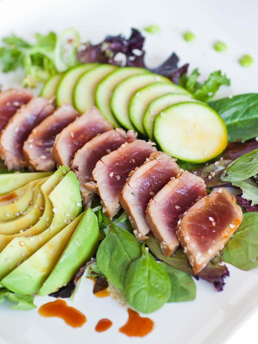 ahi tuna salad with wasabi and avocado