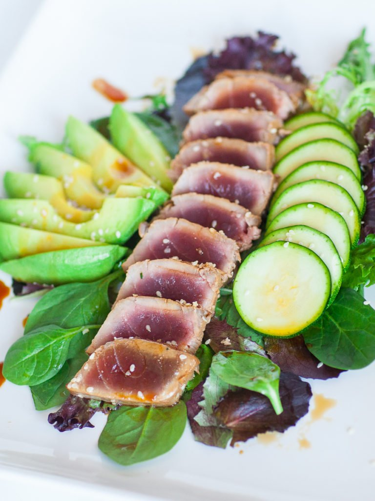 seared tuna with avocado salad - asian salad recipe