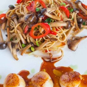 pan-seared scallops with mushroom noodles and teriyaki sauce