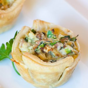 spinach ricotta tarts with bacon