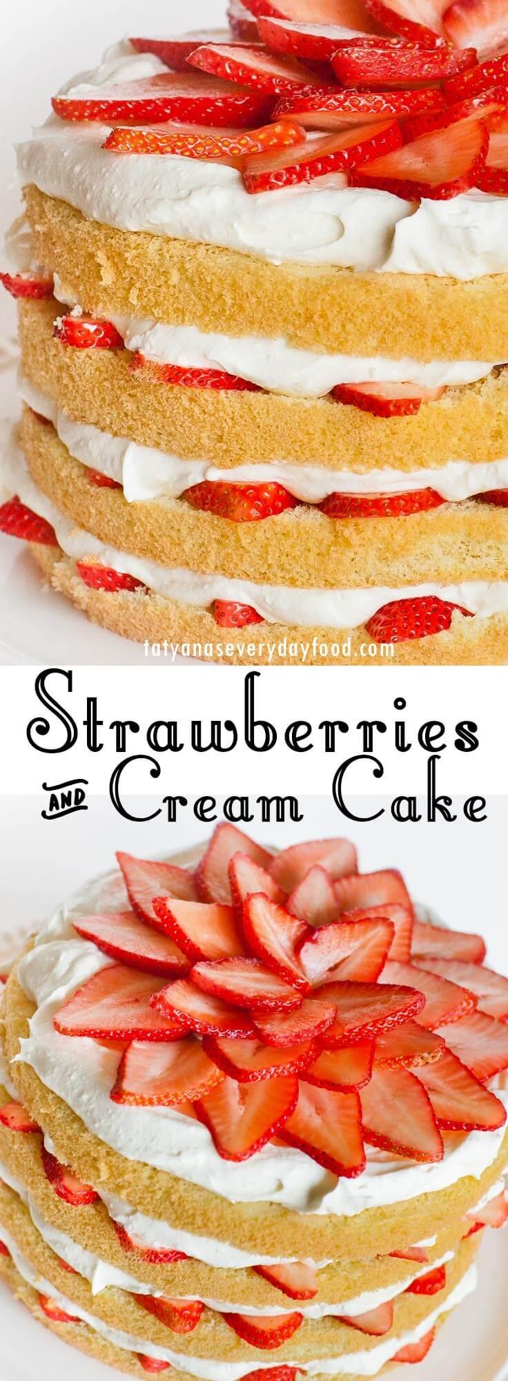 Strawberries & Cream Cake video recipe